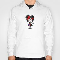 puerto rico Hoodies featuring Day of the Dead Girl Playing Puerto Rican Flag Guitar by Jeff Bartels