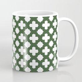 Stars & Crosses Pattern: Pine Green Coffee Mug