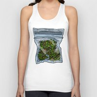 cannabis Tank Tops featuring illustrated gram of cannabis by HiddenStash Art