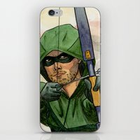 green arrow iPhone & iPod Skins featuring Arrow by Nicole Cuvin