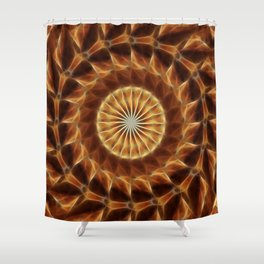 Brown Tan Gold Kaleidoscope Art 3 Shower Curtain