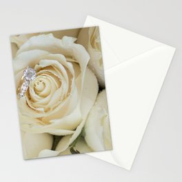 White Roses and White Diamonds Stationery Cards