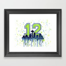 Hawks 12th Man Fan Art Seattle Space Needle Framed Art Print