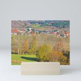 Small French village in Rhone-Alpes in autumn Mini Art Print