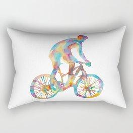 Mountain biking art print watercolor painting gift drawing classes silhouette woman girl biker bicycle cycling cyclist bicyclist Rectangular Pillow