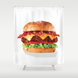 Geometric Bacon Cheeseburger Shower Curtain