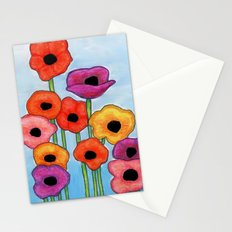 Colorful Poppies on Blue Stationery Cards