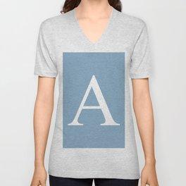 Letter A sign on placid blue color background Unisex V-Neck