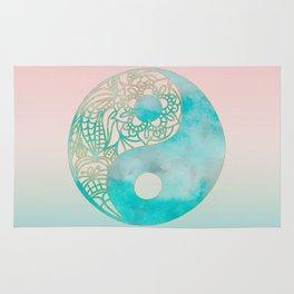 Yin Yang Watercolor Esoteric Symbol teal and soft pink #yinyang Rug