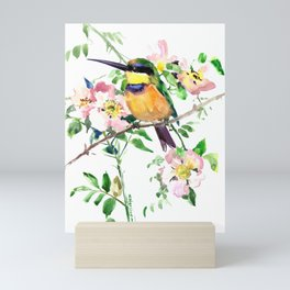 Bee-Eater and Rosehip, birds and flowers, bird art Mini Art Print