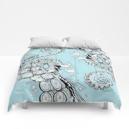Cephalopodic Swipe (linework) Comforters