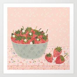 Sweet & Juicy Bowl of Strawberries Art Print