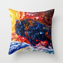 Wild the Storm - American Bison Running Throw Pillow