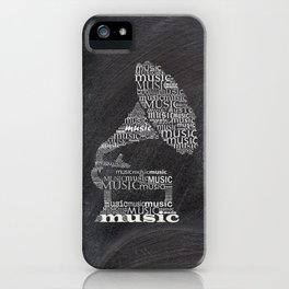 Gramophone on chalkboard iPhone Case