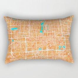 Beijing, China, Gold, Blue, City, Map Rectangular Pillow