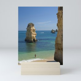 Rock on the beach, the Algarve coast, Portugal Mini Art Print