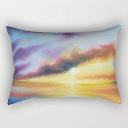 Rainbow Sunset Painting, Bright Beach Painting, Light Beautiful Sunset Art, Original Artwork, Sunset Rectangular Pillow