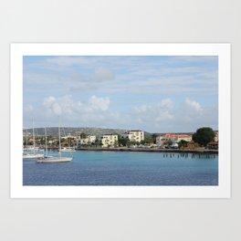 Bonaire Kralendijk Harbor Sailing Boats Art Print