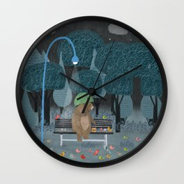 feeding the birds Wall Clock