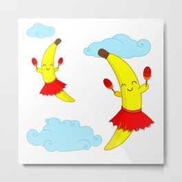 Kawaii Super Cute Flying Happy Bananas Playing Maracas Metal Print