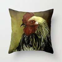 rooster Throw Pillows featuring Rooster by LudaNayvelt