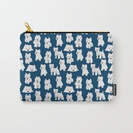 Westies on Blue Carry-All Pouch