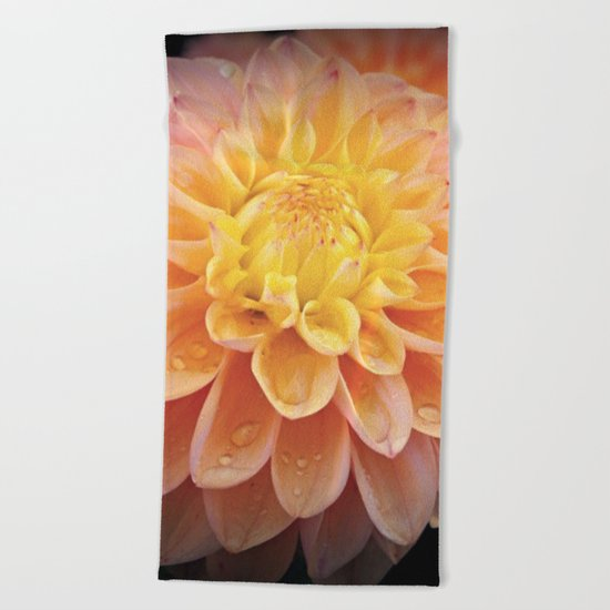 Pretty Pink Yellow Dahlia Beach Towel