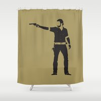 rick grimes Shower Curtains featuring Rick by the minimalist