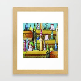 bright pattern of the houses ( https://society6.com/vickonskey/collection ) Framed Art Print