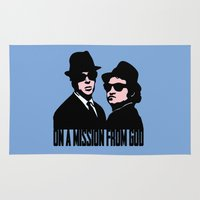blues brothers Area & Throw Rugs featuring Blues Brothers by John Medbury (LAZY J Studios)