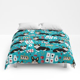 Welsh Corgi tricolored fancy poker night blackjack casino corgis cute dog breed gifts Comforters