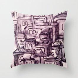 Saturday Morning Cartoons 2: TV Print Throw Pillow