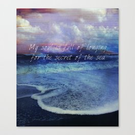 Sea Ocean quote by Longfellow Canvas Print
