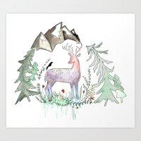 Folk Art Deer Motif Art Print