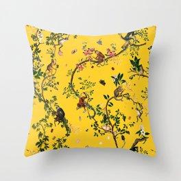 Monkey World Yellow Throw Pillow