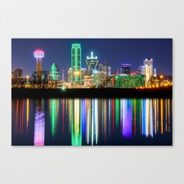 A very colorful Dallas Skyline with an impressive reflection Canvas Print