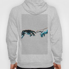 Creation of Man 2.0 Classic Michelangelo Robot Hand Art Print Hoody