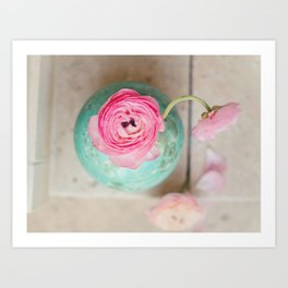 Pink ranunculus bouquet mint green vase Art Print