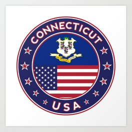 Connecticut, Connecticut t-shirt, Connecticut sticker, circle, Connecticut flag, white bg Art Print