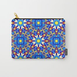 Colorful Blue and Festive Yellow Ornate Pattern Carry-All Pouch