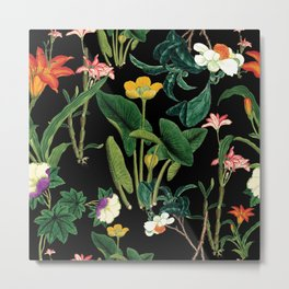 Vintage wild flowers black Metal Print