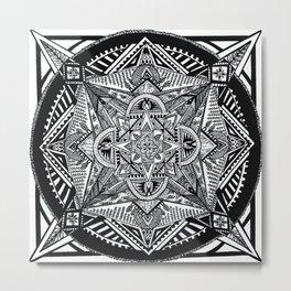 Geometric Square Black & White Mandala Metal Print
