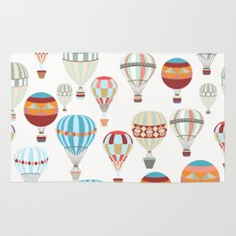Adventure illustration pattern with air balloons in vintage hipster style Rug