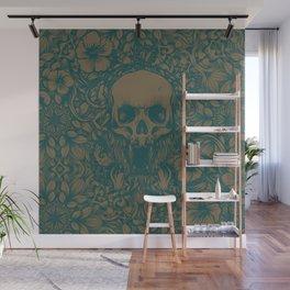Blue Skull in jungle Wall Mural