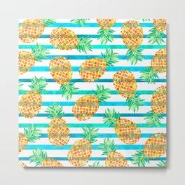 Pineapple Sea Stripes Metal Print