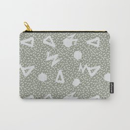 Pale Green Grey Memphis Vibes Carry-All Pouch