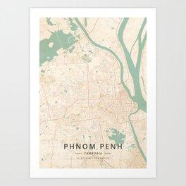 Phnom Penh, Cambodia - Vintage Map Art Print