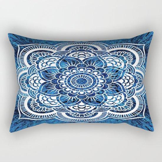 Mandala Cerulean Blue Colorburst Rectangular Pillow