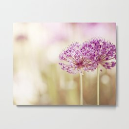 Pink Flower Photography, Purple Floral Art, Pink Beige Photo, Botanical Spring Artwork Metal Print