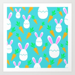 Happy Bunnies & Carrots | Easter Bunny | Easter Egg Bunny | pulps of wood Art Print
